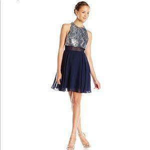 Sheer Waist Sequin Dress